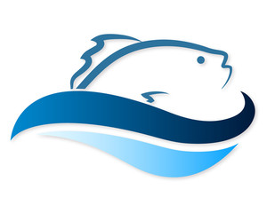 300x240 Two Fish On Waves Silhouette Vector