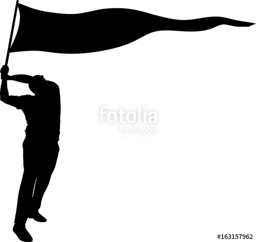 500x473 Silhouette Of A Man Holding A Large Banner Flag And Waving It