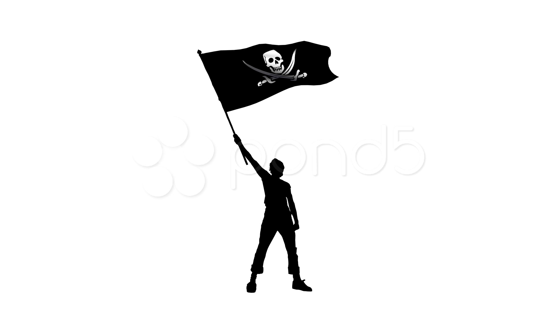 1920x1080 Stock Video Man Holding A Waving Pirate Flag ~