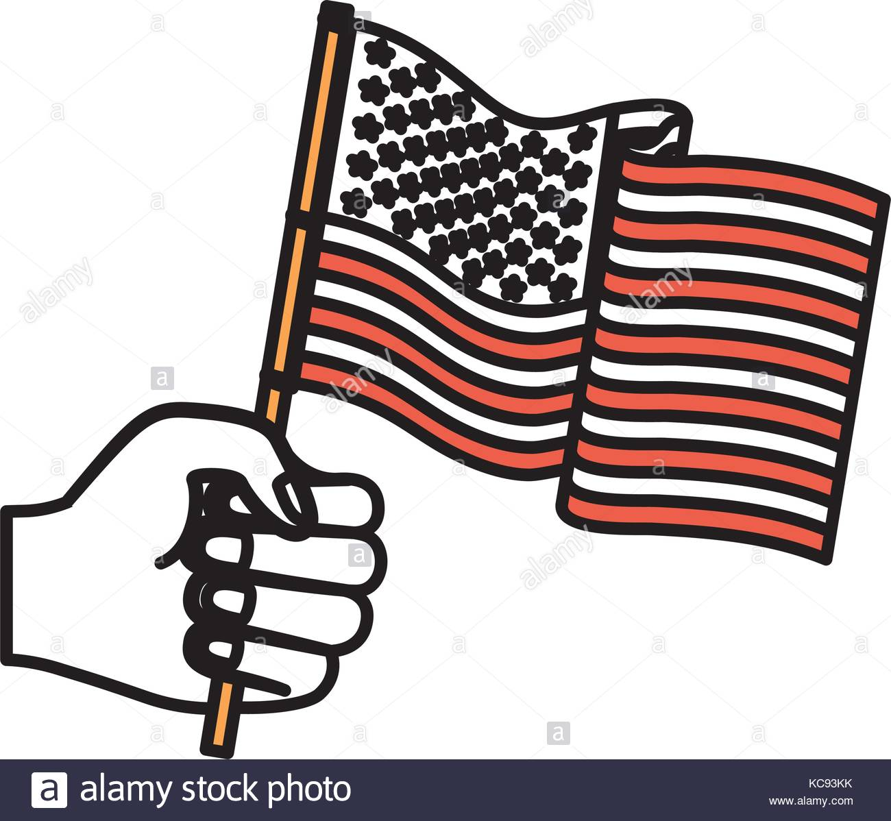 1300x1198 Hand Holding United States Waving Flag Color Sections Silhouette