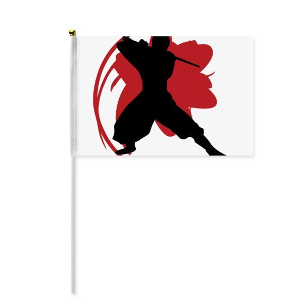 600x600 Bushido Samurai Katana Sakura Silhouette Japan Hand Waving Flag