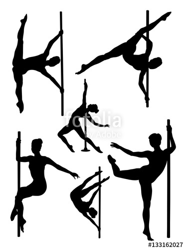 373x500 Pole Dance Woman Gesture Silhouette. Good Use For Symbol, Logo