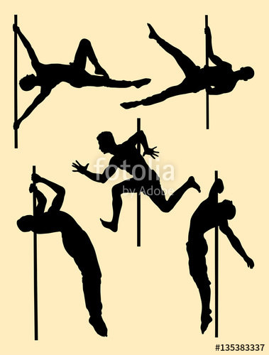 379x500 Hot Male Pole Dance Silhouette. Good Use For Symbol, Logo, Web
