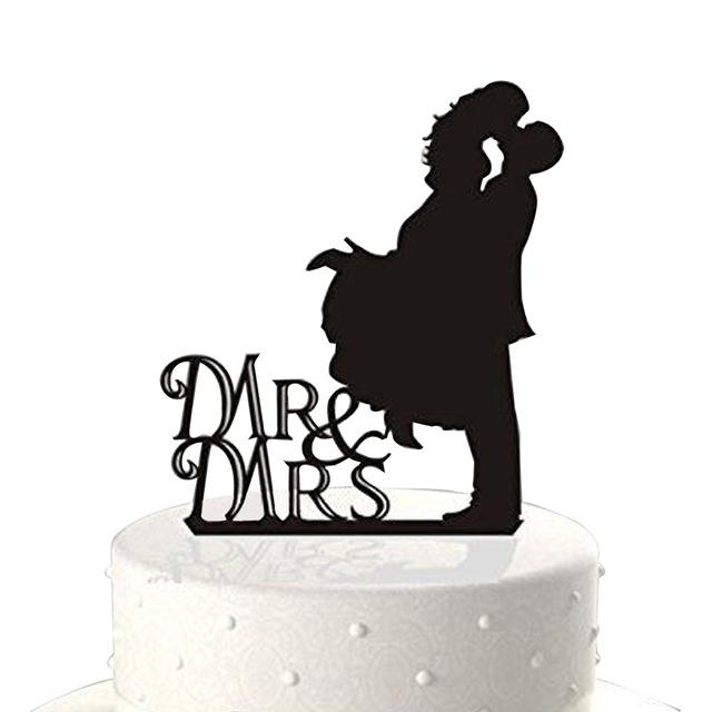 640x640 Mr. Amp Mrs. Kissing Couple Silhouette Acrylic Wedding Cake Topper