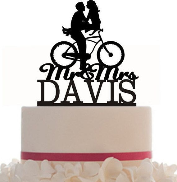 570x585 Wedding Cake Topper Mr And Mrs Hair Down With A Bicycle Silhouette