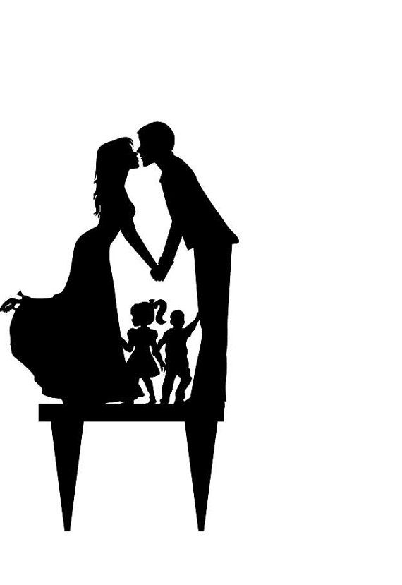 570x829 Acrylic Wedding Cake Topper Silhouette, Bride And Groom And Little