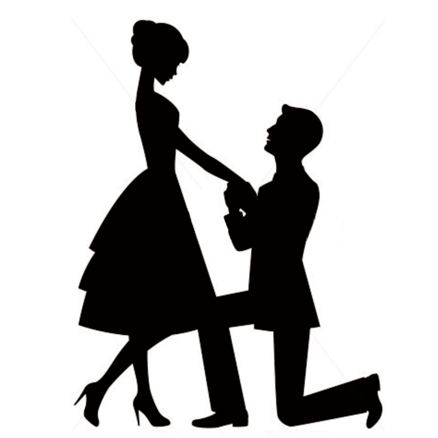 900x900 Marriage proposal Engagement Wedding cake topper Silhouette