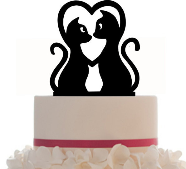 596x539 Wedding Cake Topper , Couple Kitty Silhouette , Cat Lovers