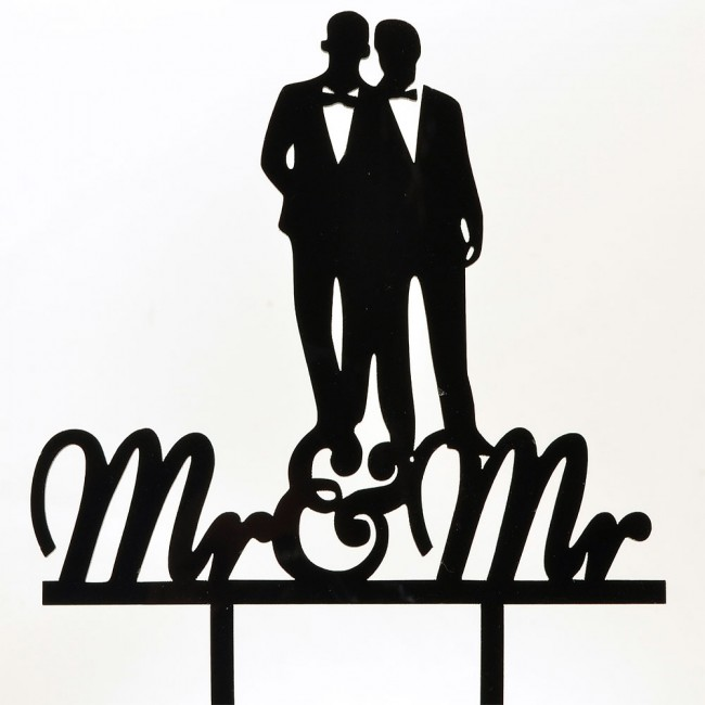 650x650 Mr Amp Mr Groom Married Couple Black Acrylic Wedding Day Cake Topper