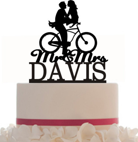 531x545 Wedding Cake Topper Mr And Mrs Hair Down With A Bicycle Silhouette