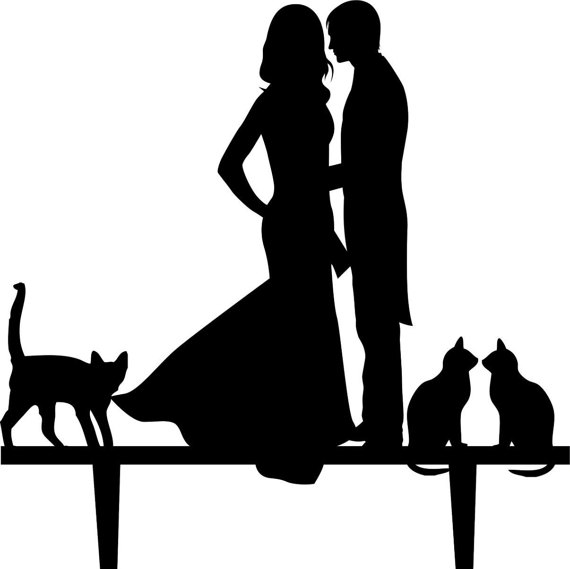 570x569 Wedding Cake Topper Silhouette Groom And Bride, Acrylic Cake