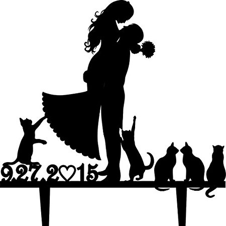 450x449 Wedding Cake Topper Silhouette Groom And Bride With Many Cute Pet