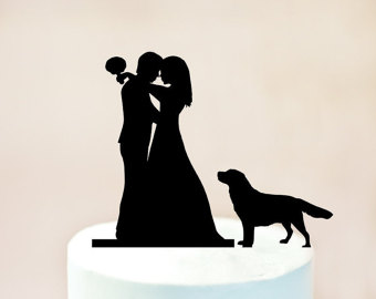 340x270 Wedding Cake Topper With Dog Silhouette Cake Topper With Dog