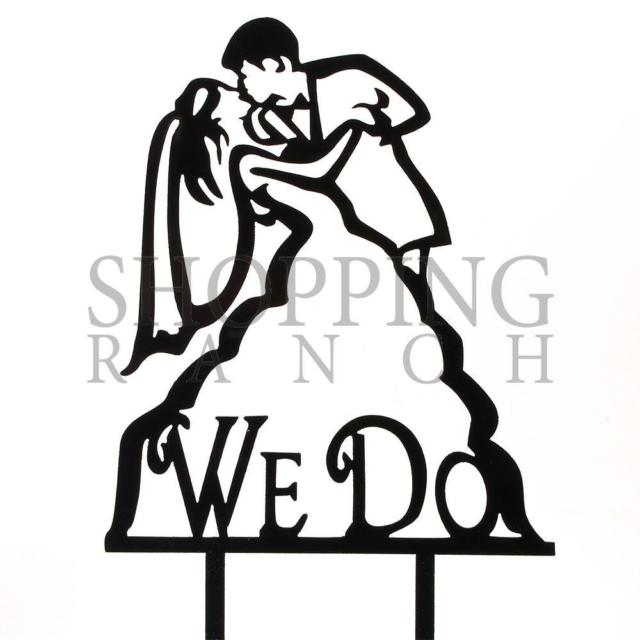 640x640 We Do Bride Groom Black Acrylic Engagement Wedding Cake Topper