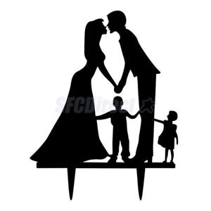 300x300 Acrylic Black Bride Amp Groom With Kids Family Silhouette Wedding