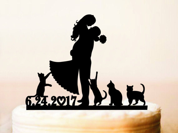 570x427 Wedding Cake Topper Silhouette Couplecats Cake Topperwedding