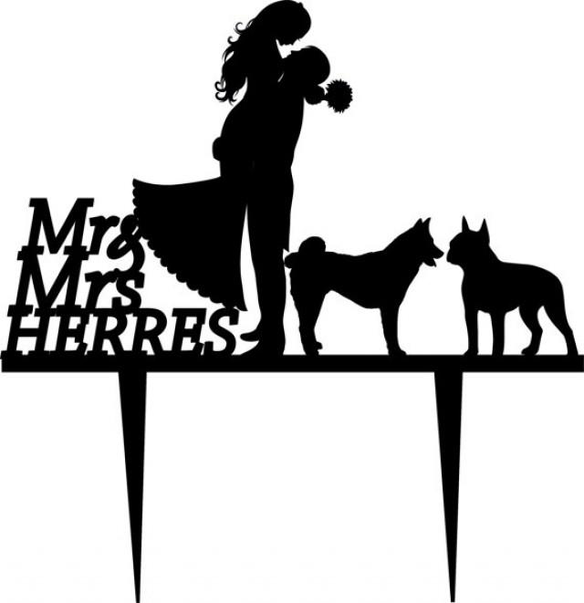 640x661 Wedding Cake Topper Silhouette Groom And Bride, Acrylic Cake