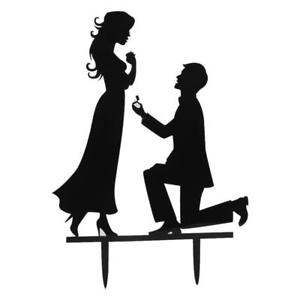 300x300 Wedding Cake Toppers Bride And Groom Propose Black Acrylic