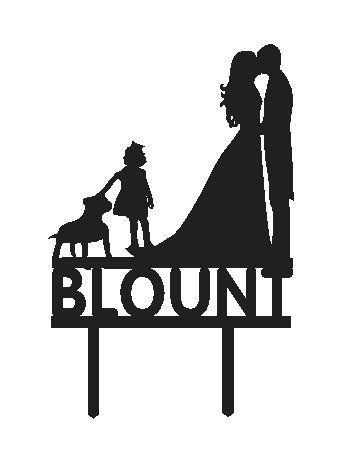 357x450 Personalized Custom Wedding Cake Topper Silhouette
