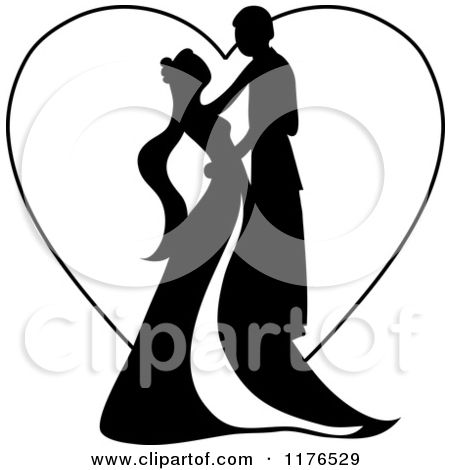 450x470 Clipart Of A Black Silhouetted Wedding Couple Dancing Over Heart