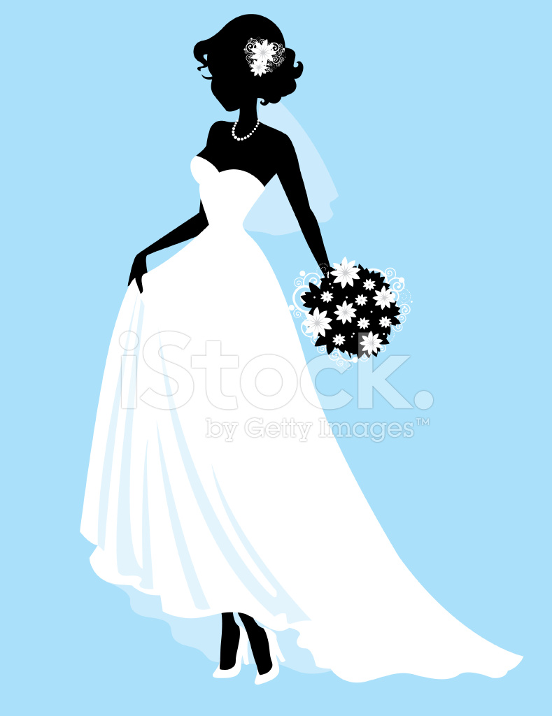 789x1024 Sweet Little Bride Silhouette Stock Vector