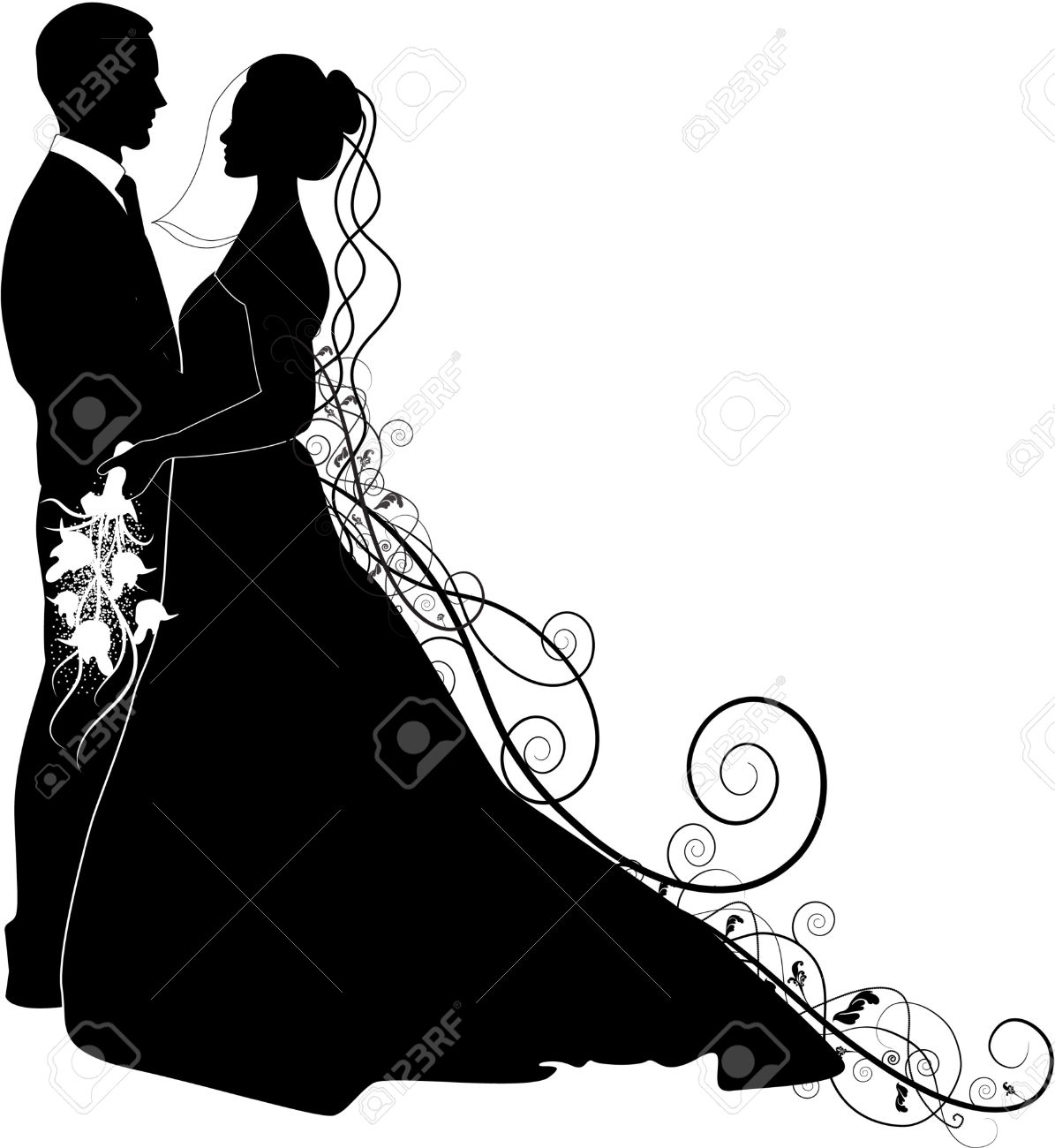 1195x1300 Wedding Dress Clipart Bride And Groom Silhouette