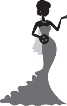 236x372 Bride In Floral Wedding Dress Cuttable Design Cut File. Vector