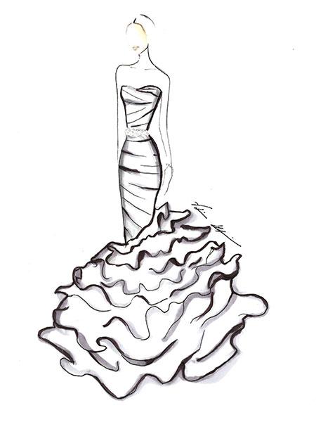 450x600 Wedding Dress Silhouettes Drawing