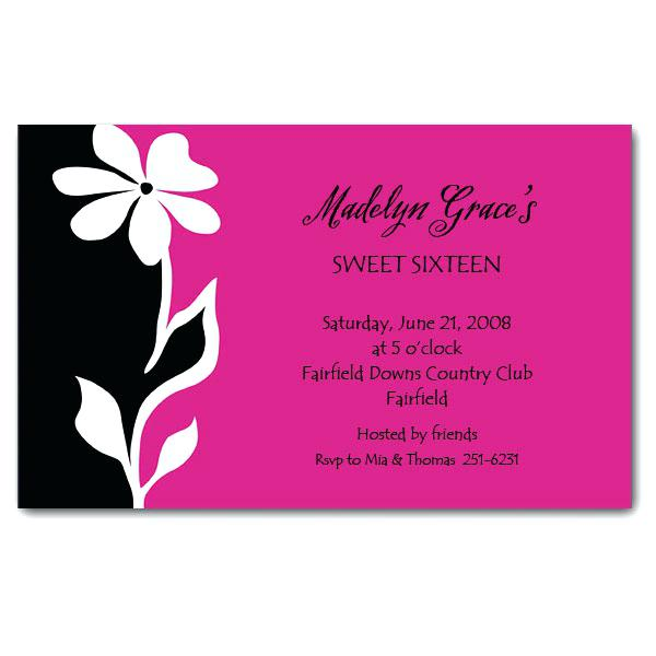 600x600 Clearance Wedding Invitations Silhouette Flower On Hot Pink