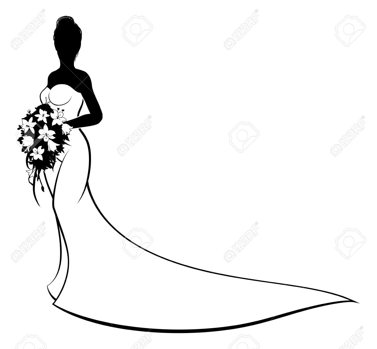 1300x1205 Silhouette Bride Clipart