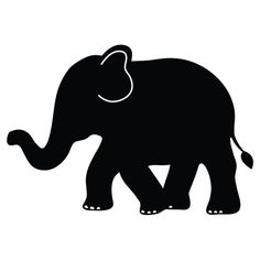 236x236 Elephant Silhouette Trunk Up Clipart