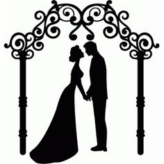 236x236 Wedding Couple Silhouette Vinyl Decal Floral Heart Frame Frame