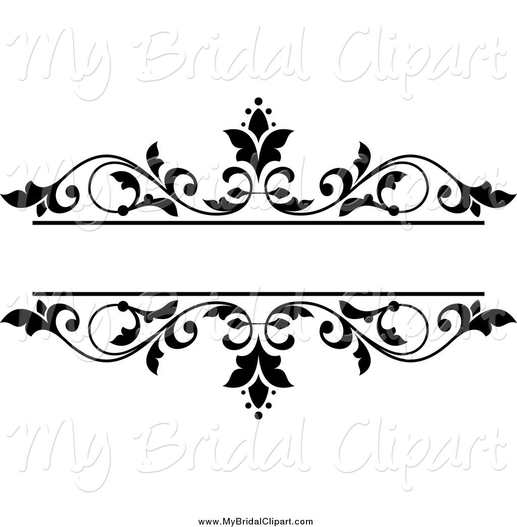 1024x1044 Bridal Clipart Of A Black And White Floral Wedding Frame By