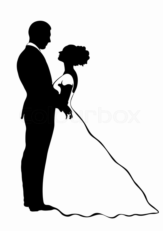 566x800 Bride Groom Silhouette Vector Icon Contour Drawing Black
