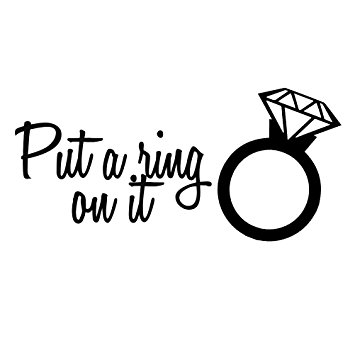355x355 Diamond Wedding Ring Funny Put A Ring On It Silhouette Vinyl