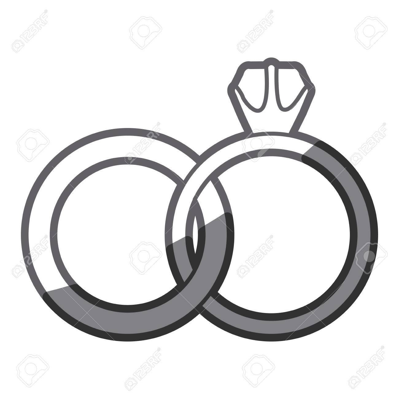 1300x1300 Grayscale Silhouette Of Wedding Rings Vector Illustration Royalty