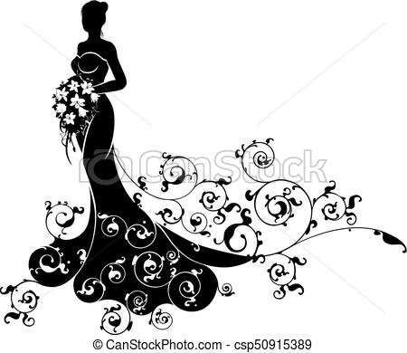 450x390 Bride Bouquet Wedding Silhouette Abstract. A Bride In Vector