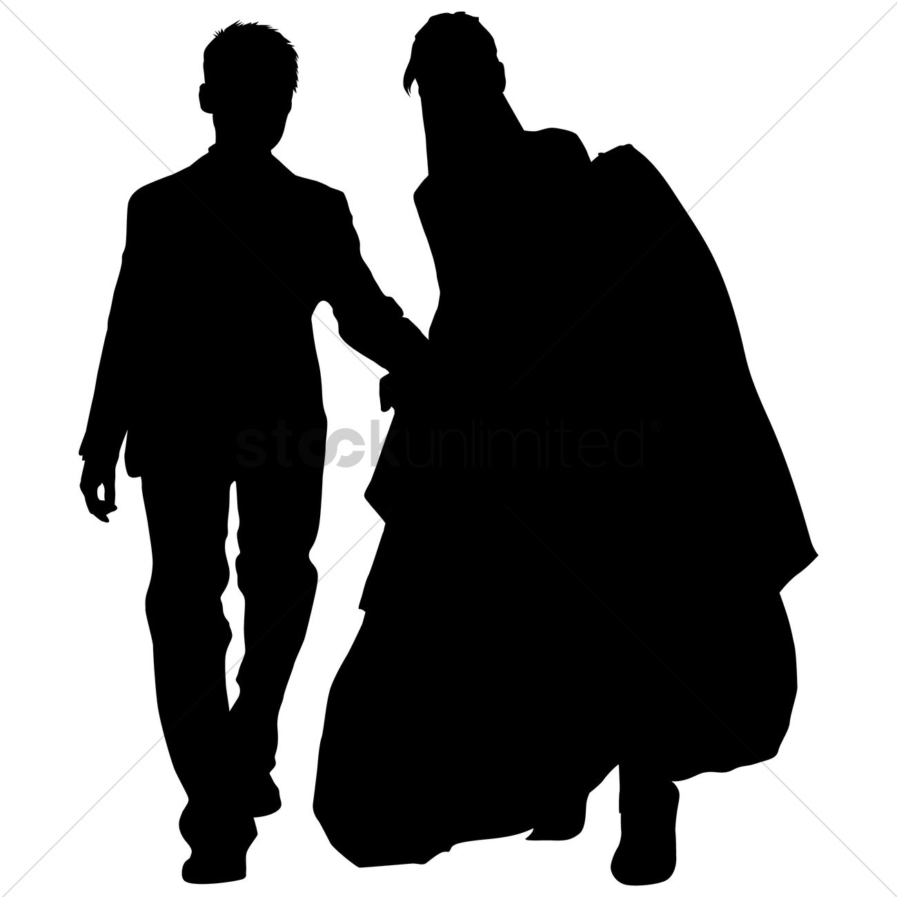 1300x1300 Free Silhouette Of A Wedding Couple Vector Image