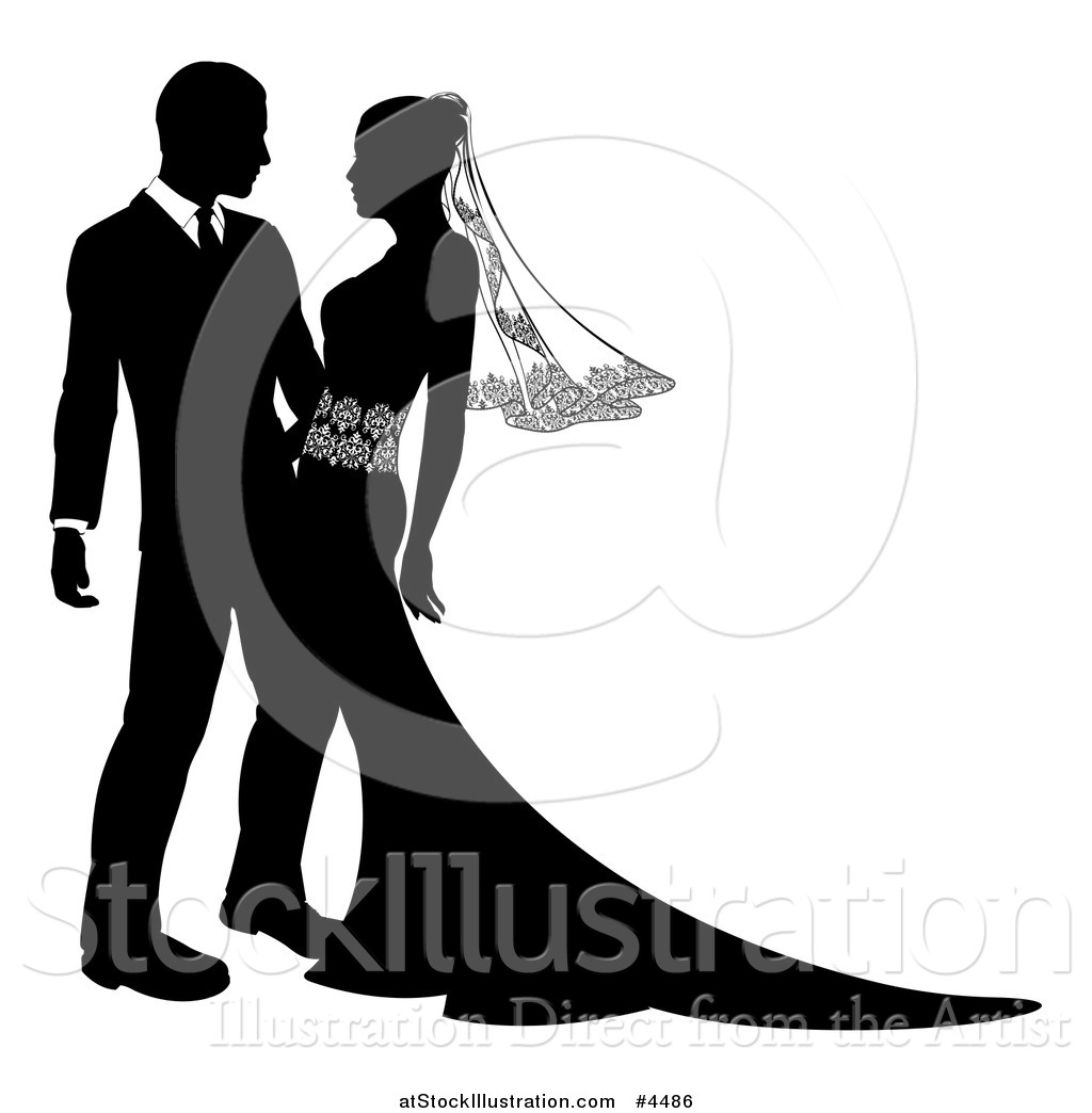 1024x1044 Vector Illustration Of A Black And White Silhouetted Wedding