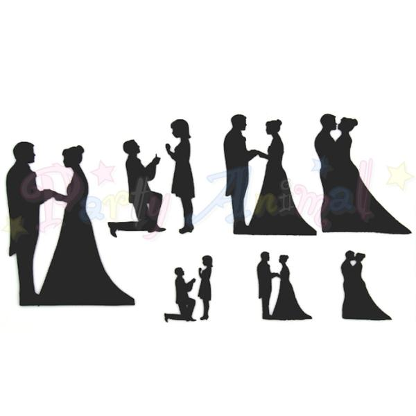 600x600 Patchwork Cutters Wedding Silhouette Set Partyanimalonline