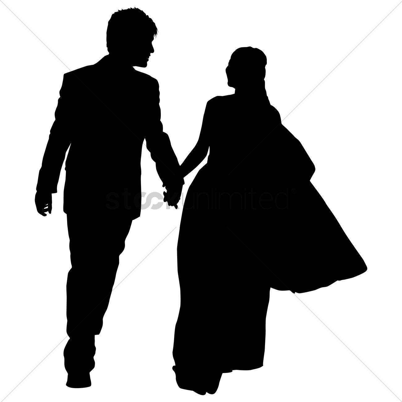 1300x1300 Silhouette Of A Wedding Couple Vector Image