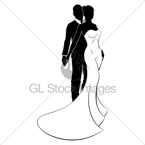 500x500 Bride And Groom Couple Wedding Silhouette Gl Stock Images