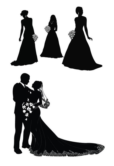 488x707 The Bride And Groom Silhouette Vector Vectors Download Crazy