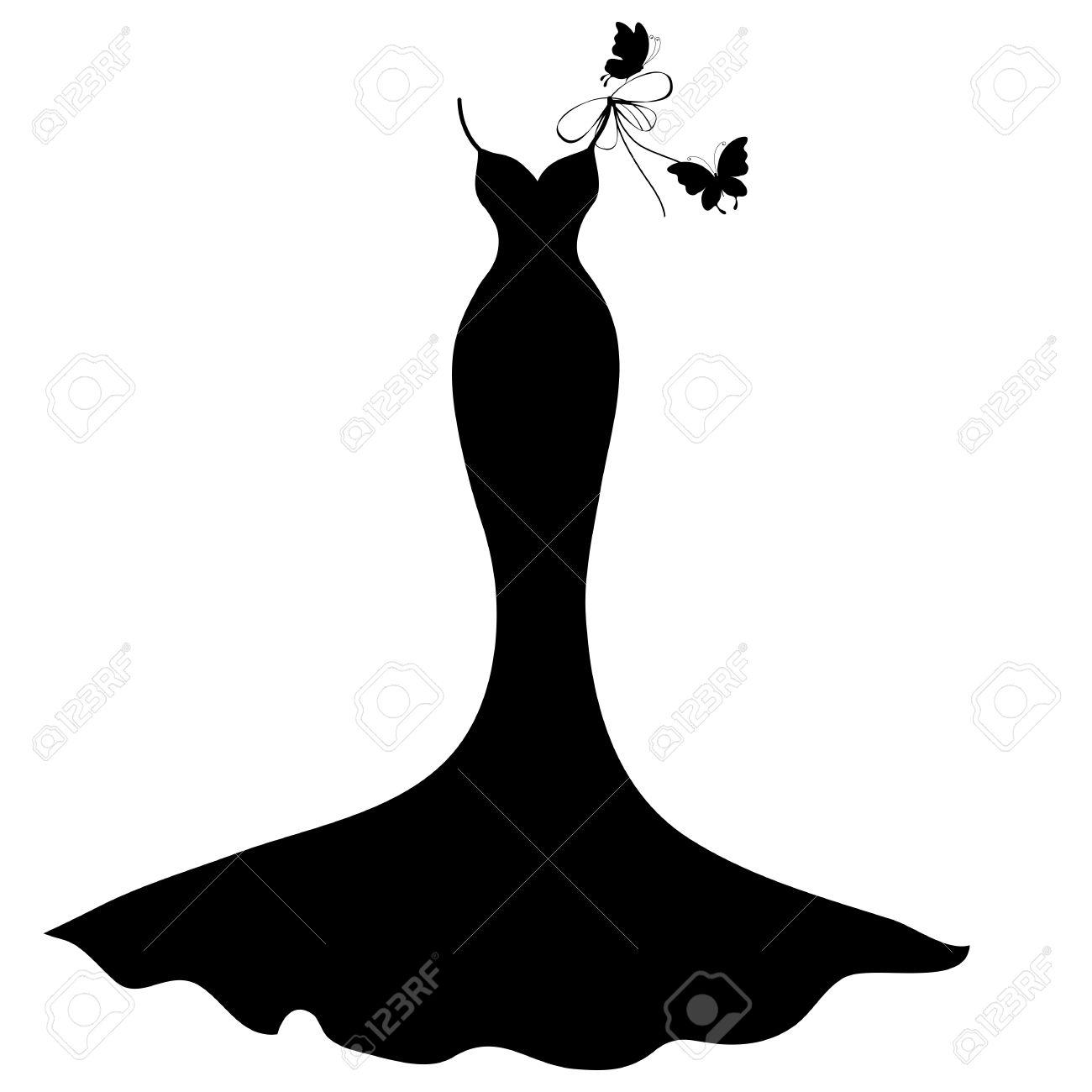 1300x1300 Wedding Dress Bride Silhouette Stock Vector Image