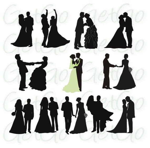 570x564 Wedding Silhouettes Printable Download Graphic Artwork Clip Art