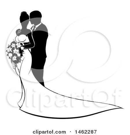 450x470 Clipart Of A Black White Silhouetted Posing Wedding Bride