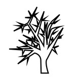 160x160 Weeping Willow Silhouette Outline On White Background Stock Image