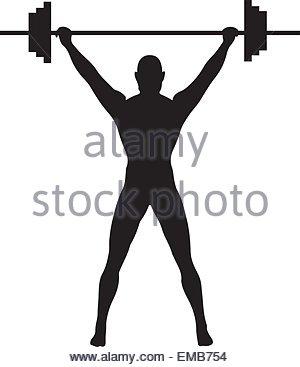 300x367 Silhouette Man Weight Lifter Sport Athlete Stock Vector Art