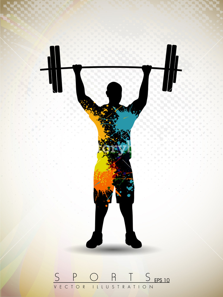 750x1000 Silhouette Of A Weight Lifter With Heavy Weight On Abstract Red