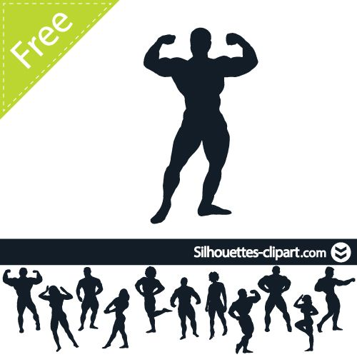 500x500 Bodybuilder Vector Silhouette Silhouettes Clipart Weight
